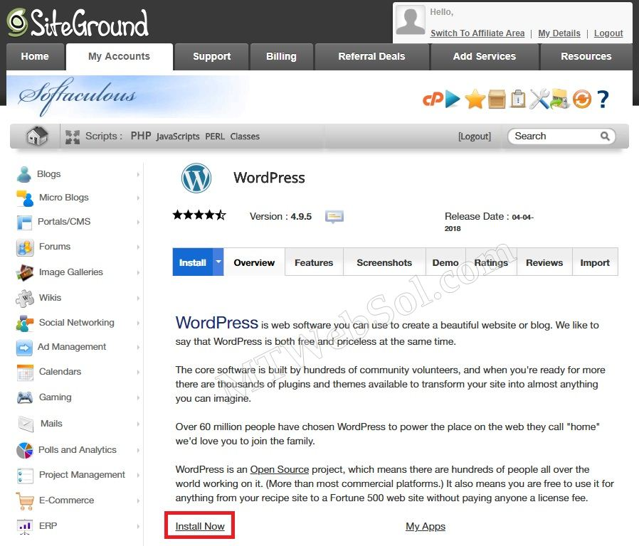 Wordpress Install Softaculous cPanel SiteGround