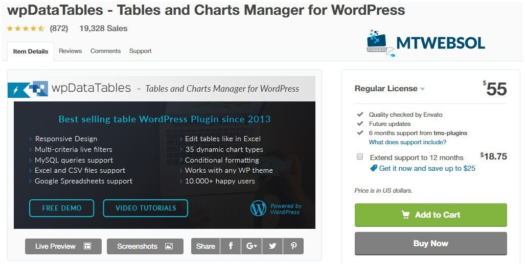 wpDataTables - WordPress WooCommerce Table Plugin